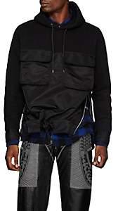 Sacai Men's Tech-Satin & Cotton-Blend Jersey Hoodie - Black