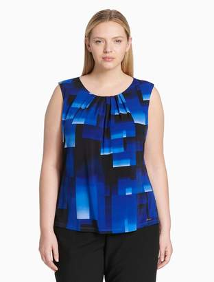 Calvin Klein plus size geometric pleat neck sleeveless top
