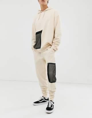 BEIGE Asos Design ASOS DESIGN two-piece sweatpants with mesh pocket in