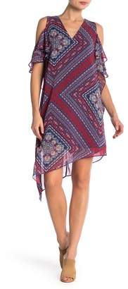 BCBGeneration Cold Shoulder Print Dress
