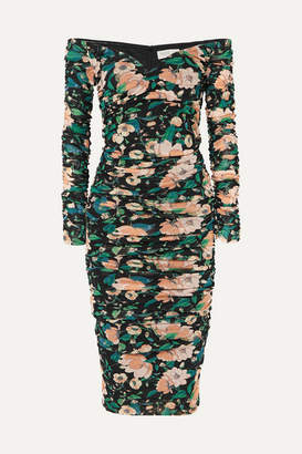 Rachel Zoe Louanne Off-the-shoulder Ruched Floral-print Crepon Dress - Blush