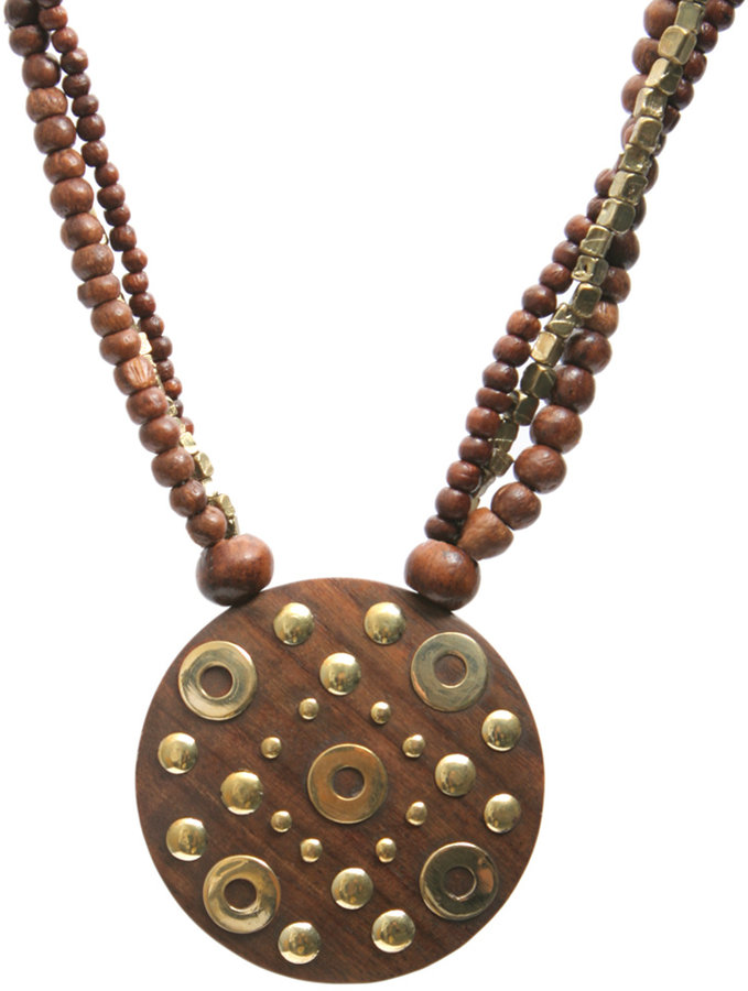 ASOS Multi Beaded Row Necklace With Round Wood Pendent