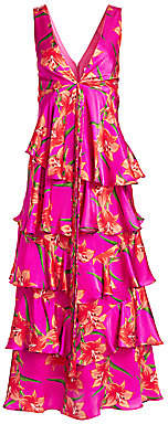 Borgo de Nor Women's Flavia Floral V-Neck Tiered Empire-Waist Silk Gown