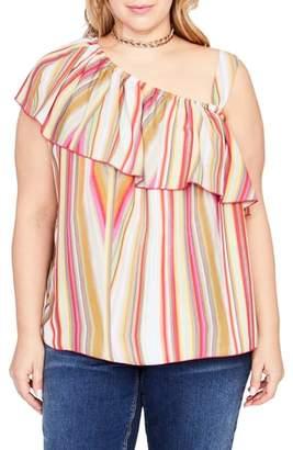 Rachel Roy One-Shoulder Ruffle Top
