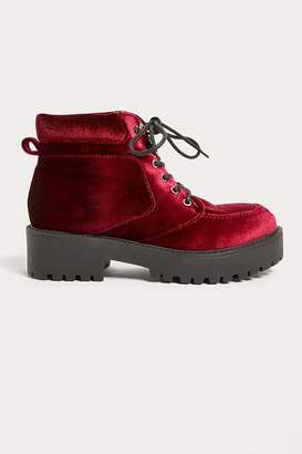 Urban Outfitters Bebe Velvet Lace-Up Boot