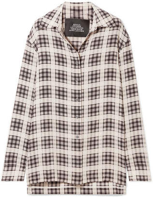 Marc Jacobs Checked Washed-silk Shirt - White