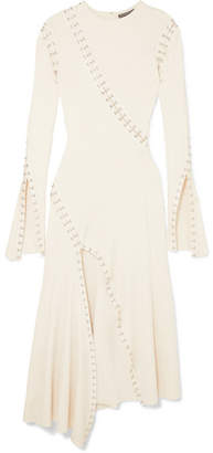 Alexander McQueen Embellished Cutout Ribbed-knit Midi Dress - Ivory