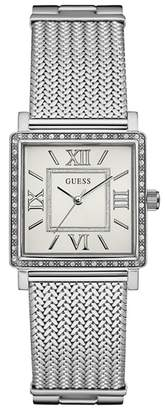 GUESS Ladies Silver Watch With Crystal Detailing And Silver Mesh Bracelet W0826l1
