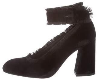 Stuart Weitzman Velvet Ankle-Strap Pumps