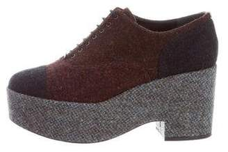 Chanel Platform Tweed Oxfords