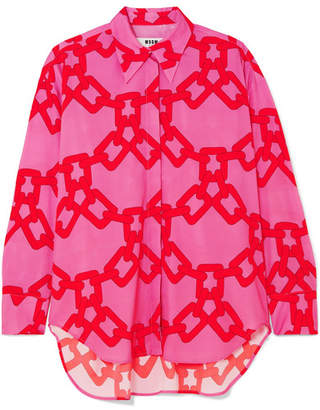 MSGM Oversized Printed Georgette Shirt - Pink