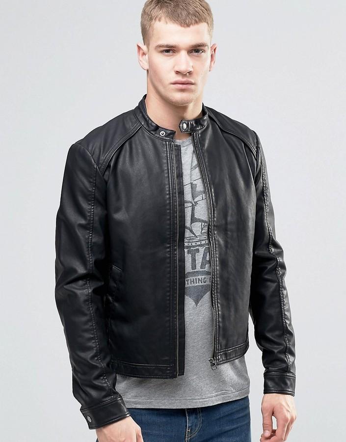 Jack And JonesJack & Jones Originals Faux Leather Biker Jacket
