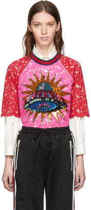 Gucci Pink and Red Lace UFO Blouse