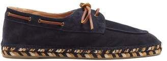 Castaner Espadrille Sole Suede Deck Shoes - Mens - Navy