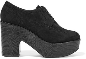 Robert Clergerie - Voel Lizard-effect Leather And Suede Platform Brogues - Black $725 thestylecure.com