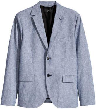 H&M Cotton Blazer Slim fit - Blue