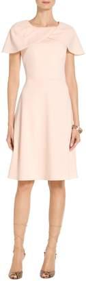 St. John Stretch Crepe Jewel Neck Dress