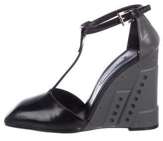 Prada Square-Toe Wedge Sandals