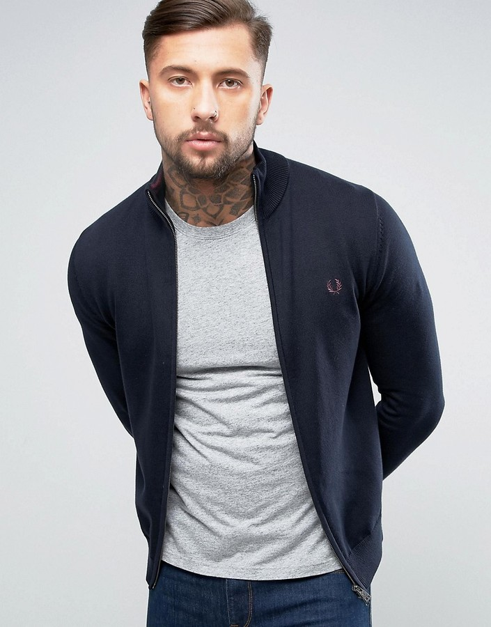 Fred Perry Fred Perry Zipthru Cardigan in Navy