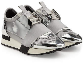 Balenciaga Race Runner Sneakers with Metallic Leather and Satin