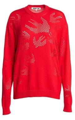McQ Women's Pointelle Swallow Knit Sweater - Red - Size XXS