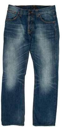 Nudie Jeans Distressed Straight-Leg Jeans
