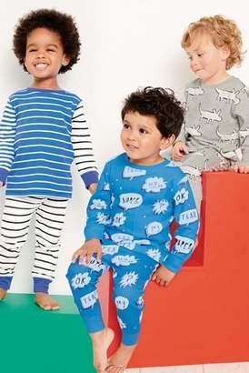 Next Boys Blue Character/Stripe Snuggle Fit Pyjamas Three Pack (9mths-8yrs)
