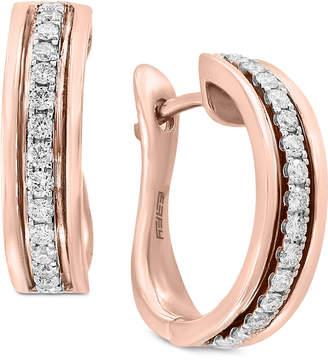 Effy Pavé Rose by Diamond Hoop Earrings (1/3 ct. t.w.) in 14k Rose Gold