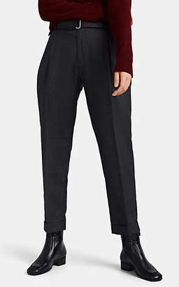 Officine Generale Women's Pierre Belted Wool Cuffed Pleated Trousers - Gray