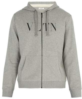 Valentino Logo Print Zip Through Hooded Sweatshirt - Mens - Grey