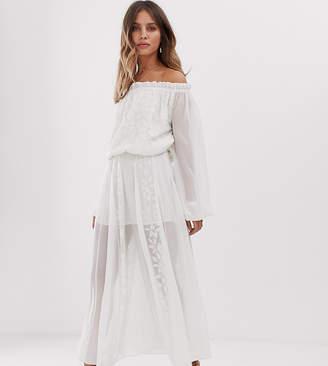 White Sand off shoulder lace applique midaxi dress in vintage cream