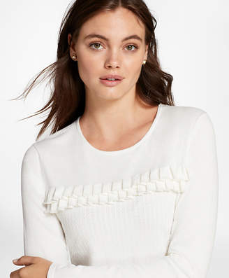 Brooks Brothers Ruffle-Trim Cable-Knit Sweater