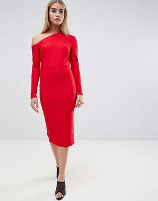 Asos Design DESIGN midi dress with sweeping neckline
