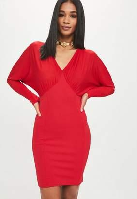 Missguided Red Scuba Batwing Mini Dress