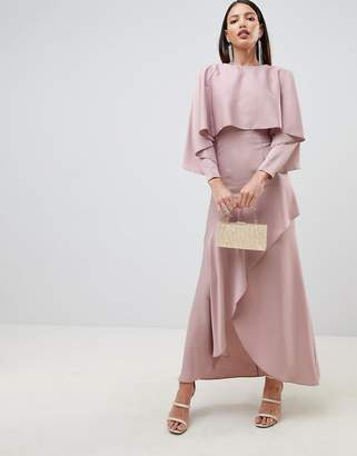 Asos Design DESIGN crop top kimono satin maxi dress with split skirt