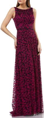 Carmen Marc Valvo Embellished Lace Gown