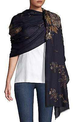 Janavi Women's Cashmere Embellished Peacock Wrap Scarf