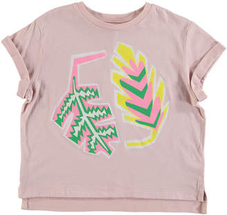 Stella McCartney Palm Leaf Rolled-Cuffs Tee, Size 4-14