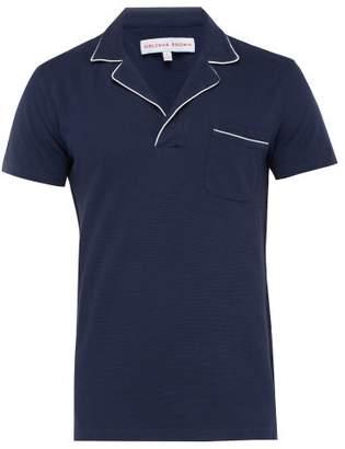 Orlebar Brown Donald Cotton Waffle Knit Polo Shirt - Mens - Navy Multi