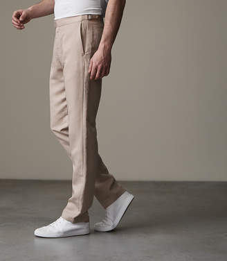 Reiss CHEQUE SIDE FASTEN TROUSERS Stone