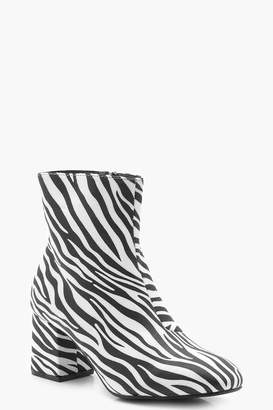 boohoo Zebra Low Block Heel Shoe Boots