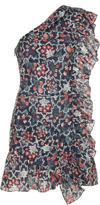 Etoile Isabel Marant Teller Printed Linen Ruffle Dress