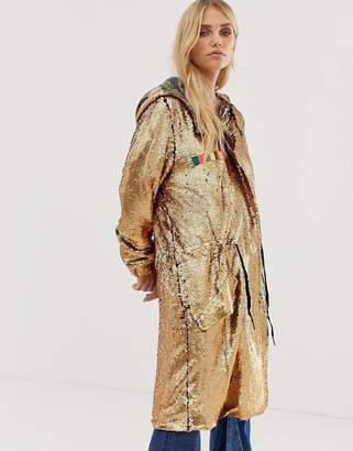 Native Rose Oversized Festival Parka Jacket In Premium Sequin