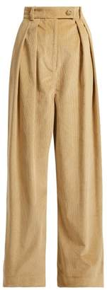 Awake Wide Leg Corduroy Trousers - Womens - Camel