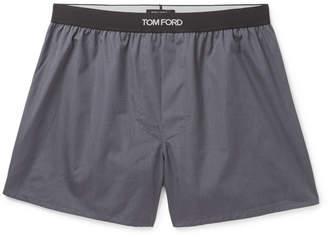Grosgrain-Trimmed Cotton Boxer Shorts
