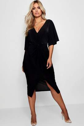 boohoo Plus Slinky Twisted Kimono Sleeve Midi Dress