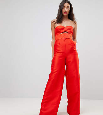 Asos Tall TALL Bandeau Jumpsuit with Cut Out and Belt Detail
