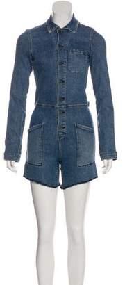 RtA Denim Distressed Long Sleeve Jumpsuit