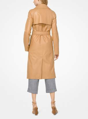 Michael Kors Plonge Leather Trench Coat