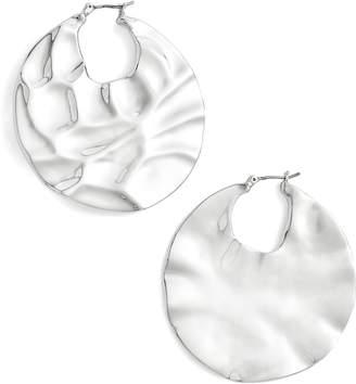Halogen Molten Disc Hoop Earrings
